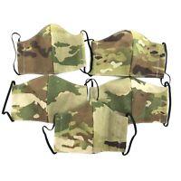 5 PACK Multicam Cloth Face Mask, US Military Army Uniform Camo Reusable Washable