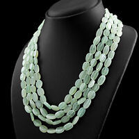 OUTSTANDING 3 STRAND 797.00 CTS NATURAL GREEN AQUAMARINE ROUND BEADS NECKLACE