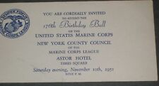 U.S. Marines Invitation To the 176 Birthday Ball c51 NY