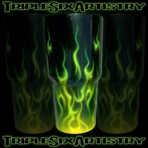 Airbrushed Tumbler Cup Green Fire Flame Jaymz Triple Six Artistry 30 oz