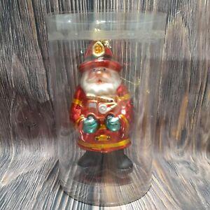 Fireman Santa Glass Blown Christmas Tree Ornament Amc New York Keepsake Holiday