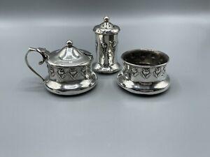 Arts & Crafts/Art Nouveau Solid Silver Cruet Set John Rose 1909 Birmingham