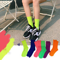 Women Girls Solid  Socks Fluorescent Color Vintage Mid Hip Hop Socks Hot