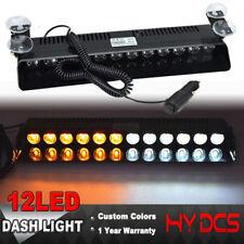 12LED FLASHING STROBE LAMP LIGHT CAR DASH EMERGENCY WARNING LIGHTS AMBER WHITE