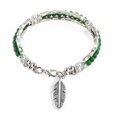 Vintage Turquoise Bohemian Tibetan Silver Feather Bracelet Women Bangle Jewelry