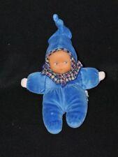 Peluche doudou poupée poupon COROLLE bleu carreaux grelot 20 cm BE