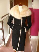 M&S TWIGGY long faux sheepskin suede teddy COAT UK 10 fur collar cuffs 40s 30s