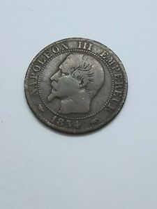 1854  France 5 Centimes Coin Napoleon III  very nice condition for its age.