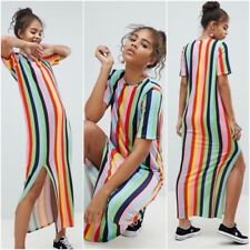 ASOS Tall Size 4 Maxi Dress In Rainbow Stripe Short Sleeve Side Slit Womens Poly