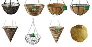 Dark Rattan Round Hanging Baskets With Wire Chain Black Wicker Garden Decor NEW