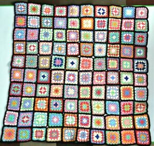 Granny Square Crochet Afghan Roseanne Throw Blanket 48x48 Square Shape Warm Cozy