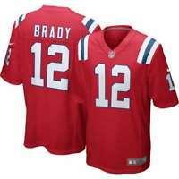 New England Patriots Majestic Men/'s Moro Poly Mesh Top Jersey New Brady 12
