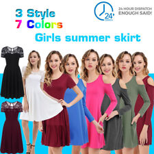 Women's Sundress Short Sleeve Casual T-shirt Dress Loose Summer Dress Plus Size
