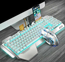 UK Rechargeable Wireless LED Backlit Usb Gaming Keyboard + PC Mouse Sets White