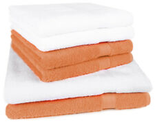Betz Lot de 6 serviettes Premium 100% coton, blanc & orange