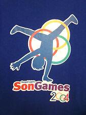 Gospel Light T shirt SON GAMES lrg Vacation Bible School Olympics 2004 Christian