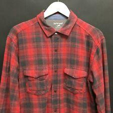 Mens Medium HORNY TOAD Lined Shadow Plaid Shirt Metal Snaps Cinch Collar 13c