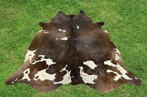 Large Cowhide Rugs Brown Real Hair on Cow Hide Animal Skin Area Rugs 5 x 6 ft