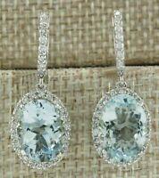 Luxury Aquamarine Gems Wedding Engagement 925 Silver Drop Dangle Women Earrings