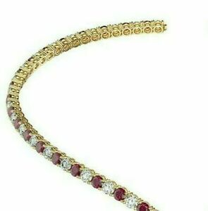 25ct Pink Ruby Round & Diamond Womens Tennis Choker Necklaces 14K Yellow Gold FN