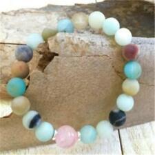 8mm Amazon Stone Pink Crystal Mala Bracelet 7.5 inches Fancy Wrist Mala Chakras