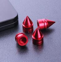 4x Red Aluminum Tire Rim Valve Wheel Air Port Stems Cap Cover Car Accessories