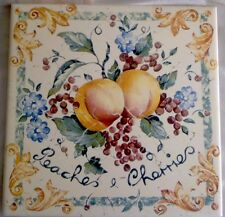 "English TileCrafts Staffordshire 6"" Trivet decorative or use EUC Peaches Cherry"