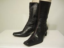 TABU Women's Black Mid Calf Leather Boots  Made in Italy Size EU 38 / US 7