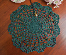 Chic Cotton Hand Crochet Lace Doily Crocheted Doilies Placemat Round 35CM Green