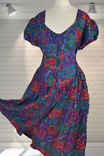Floaty Vintage 1980s PHOOL Bright Abstract Print Flowing Gypsy Dress - Size 16