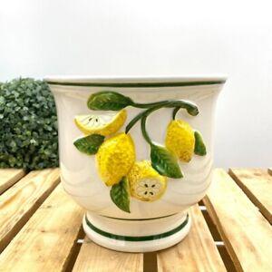 Bassano Ceramic Vase Flowerpot Beautiful Lemon Motif 7 1/8in High New