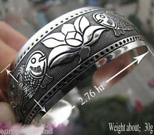 New Tibetan Tibet Silver Totem Bangle Cuff fish Flower  Bracelet