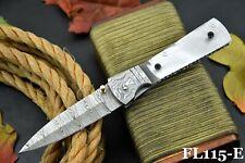 Custom Hand Forged Damascus Steel Blank Folding Knife,Damascus Bolster (FL115-E)