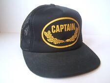 Captain Hat Vintage Black Snapback Trucker Cap