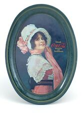 Vintage 1972 Coca Cola Small Metal Oval Six 6 inch Tin Tray Lady Coaster I414