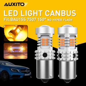 2X BAU15S 7507 LED Turn Signal Light Amber Canbus No Hyper Flash Error Free EDO