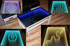 Birken Tisch LED 3D 90x55 Couchtisch +100 Diamanten Glastisch Tiefeffekt Spiegel