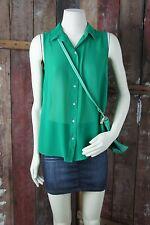 H&M * Bluse * Ärmellos * Transparent * Froschgrün Green * Luftig Leicht * Gr 36