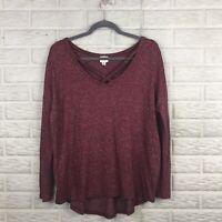 A New Day Women Sweater Medium Burgundy High Low Criss Cross Oversized Thin Knit
