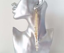 Gorgeous extra long gold tone chain & cross layered drop earrings * NEW *368