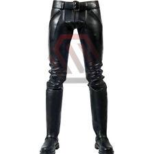 Men's Real Leather Pants Double Zips Pants Gay Interest BLUF Pants Jeans Trouser