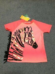 girls Rashie Top  swimwear Zebra design  NEW size 4 swimmers togs UPF50+rash top