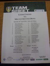 24/04/2010 Colour Teamsheet: Leeds United v Milton Keynes Dons  (Faint Fold, Sma