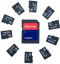 10 x 4GB SanDisk Micro SD Memory Cards with Samsung / SanDisk SD Adapter