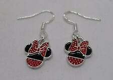 Beautiful Sterling Silver Minnie Mouse Drop Earrings