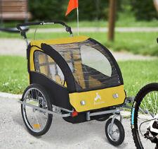 Aosom Elite Ii Double Baby Bike Trailer Stroller Child Bicycle Kid Jogger Yellow