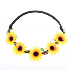 Summer Boho Floral Flower Garland Wedding Beach Hair accessories Headband Yellow