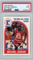 1989-90 NBA Hoops #21 Michael Jordan PSA 9 Graded CARD Card Bulls All-Star