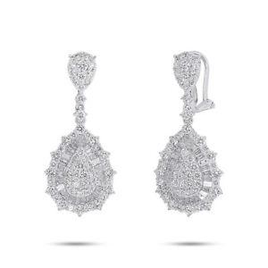 Lacrima Diamante Pera Forma Orecchini 14K Oro Bianco Pendente 3.79CT Baguette