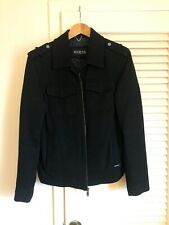 Guess Dark Black Military Style Wool Jacket Size Small